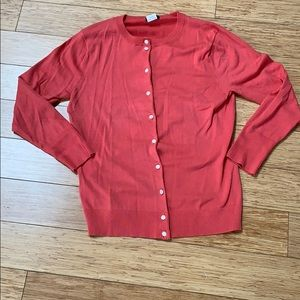J crew coral cardigan with pearl buttons EUC
